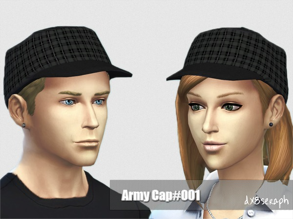 Sims 4 Army Cap #001 by dx8seraph at TSR