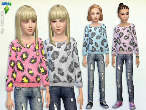 Sims 4 Fuzzy Animal Print Sweater & Jeans by lillka at TSR