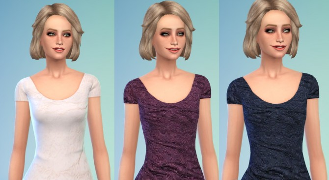 Sims 4 6 Lace Recolors of the Scoop Neck Tee at Belle's Simblr
