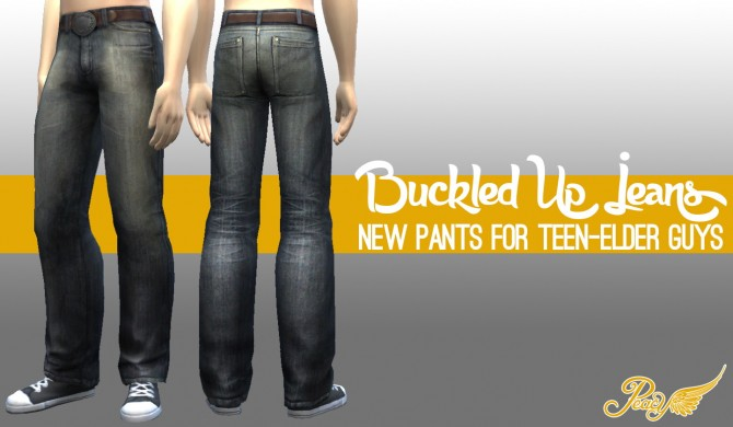Buckled Up Jeans by Peacemaker IC at Simsational Designs image 186 Sims 4 Updates