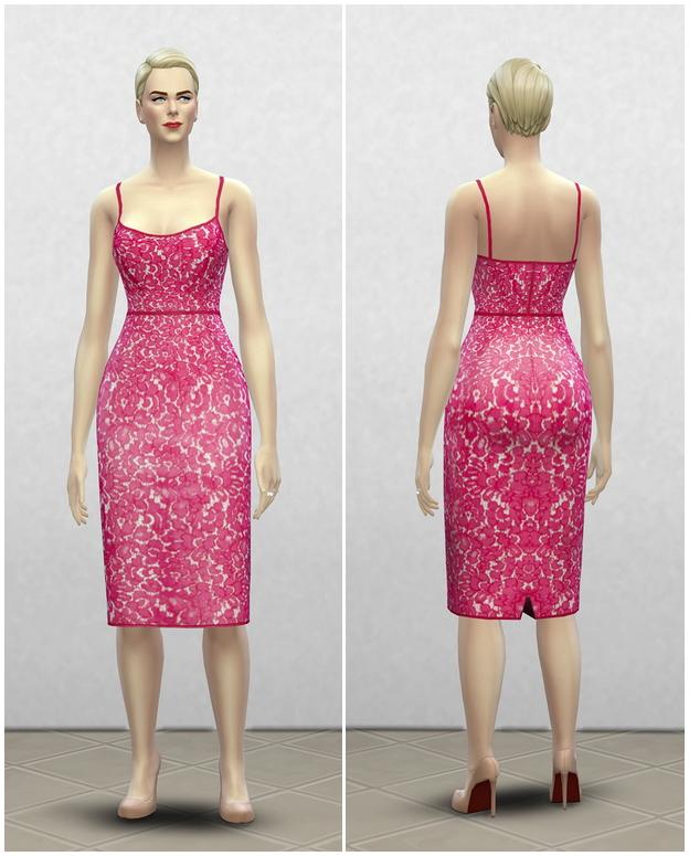 Sims 4 Magenta lace dress at Rusty Nail