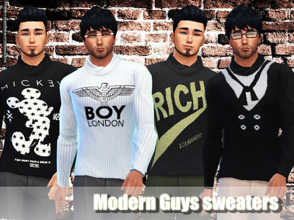 Sims 4 Modern guys sweaters by Pinkzombiecupcakes at TSR