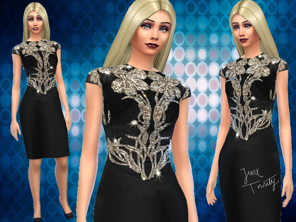 Sims 4 Little Black Gold Dress by JinxTrinity at TSR