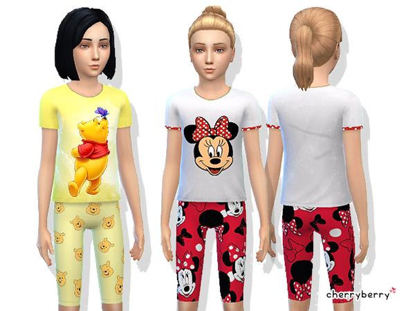 Sims 4 Cute sleepwear set by CherryBerrySim at TSR