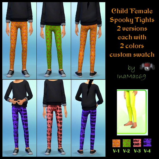 Child Female Spooky Tights by InaMac69 at Simtech Sims4 image 2220 Sims 4 Updates