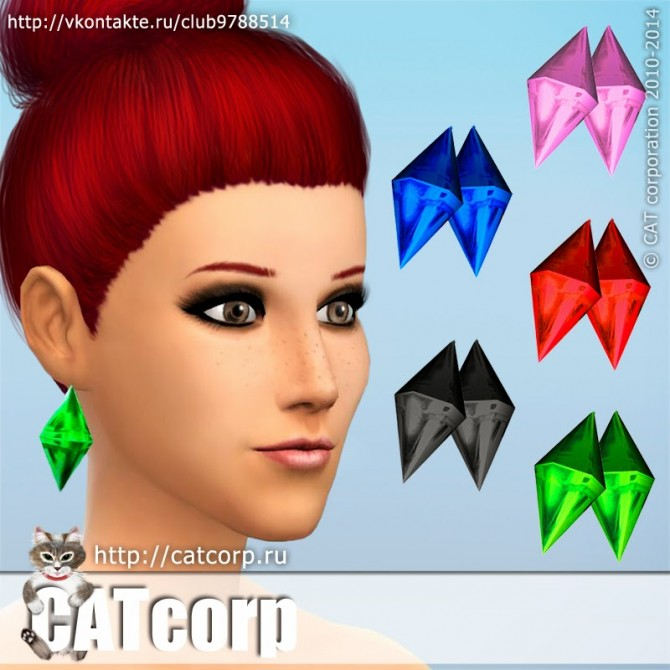 Plumbob earrings 5 colors at CATcorp image 252 Sims 4 Updates