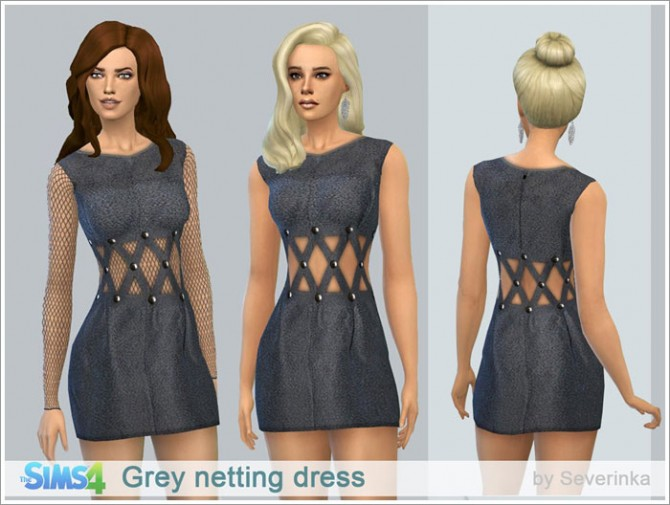 Sims 4 Grey netting dress at Sims by Severinka