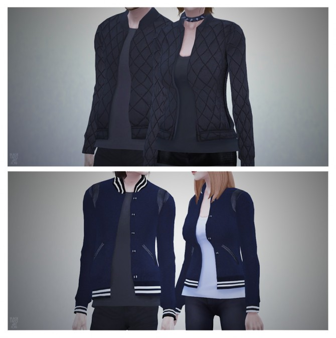 Couple Bomber Jacket At Black Le 187 Sims 4 Updates