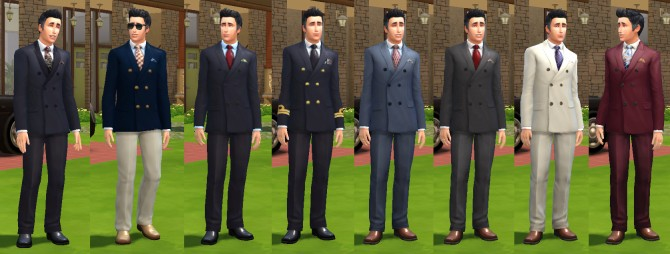 Sims 4 Eight new Double Breasted Suits by lagusta at Mod The Sims
