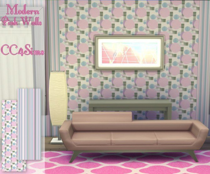 Sims 4 Modern pink walls by Christine at CC4Sims