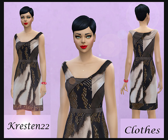 Dress animal print by Kresten 22 at Sims Fans image 347 Sims 4 Updates