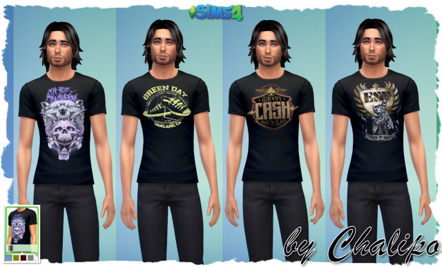 Sims 4 Tee for males and 2 dresses by Chalipo at All 4 Sims