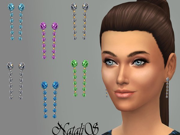 Sims 4 Multi crystals drop earrings by NataliS at TSR