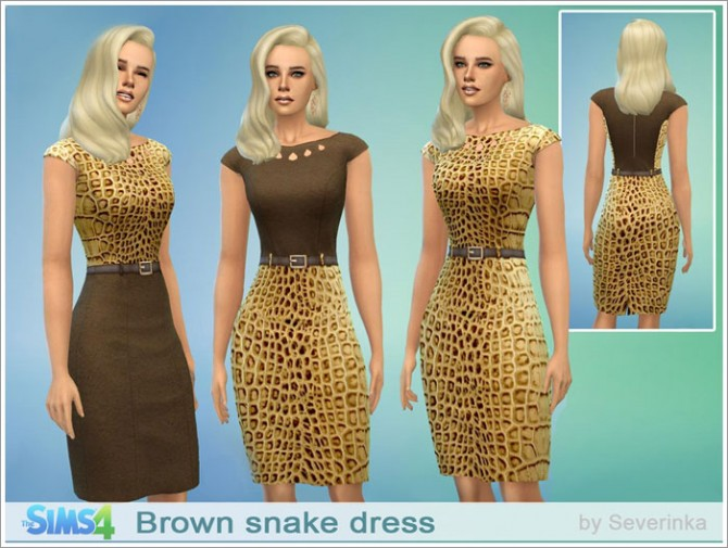 Brown Snake Dress At Sims By Severinka 187 Sims 4 Updates