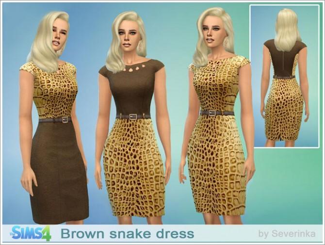 Sims 4 Brown snake dress at Sims by Severinka