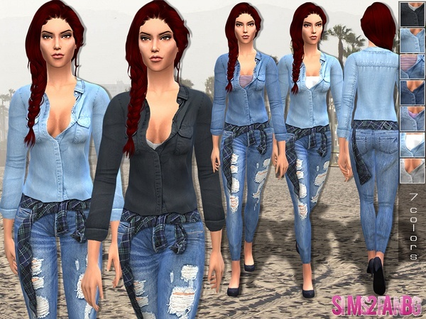 Sims 4 Female denim outfit 13 by sims2fanbg at TSR
