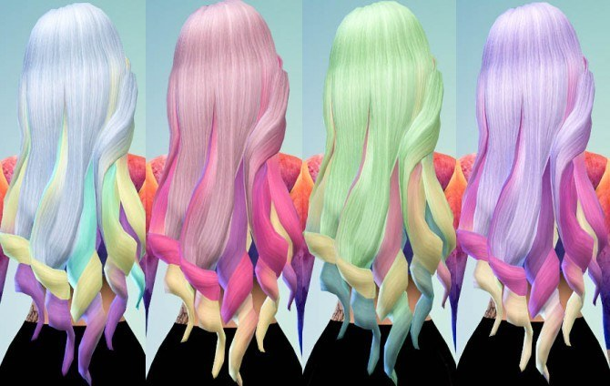 Sims 4 Hair Chalked Ombre Galaxy Inspired Colors at Ohmyglobsims
