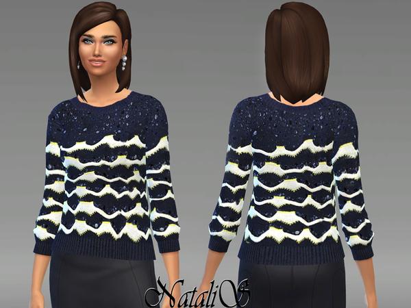 Sims 4 Textured knitting sweater by NataliS at TSR