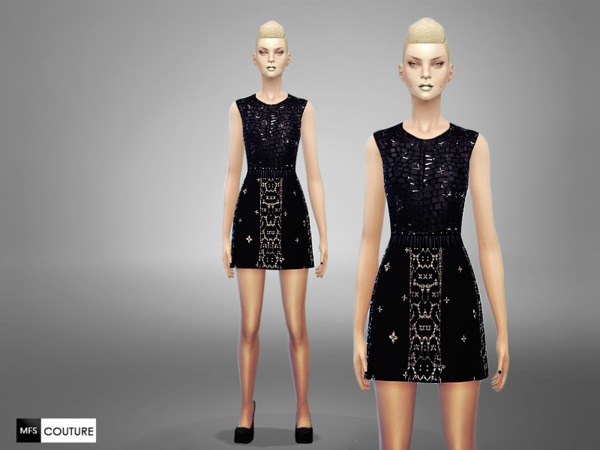 Sims 4 Black Swan Dress by MissFortune at TSR