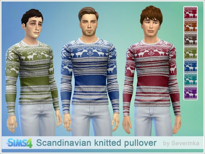 Scandinavian knitted pullover at Sims by Severinka image 407 Sims 4 Updates
