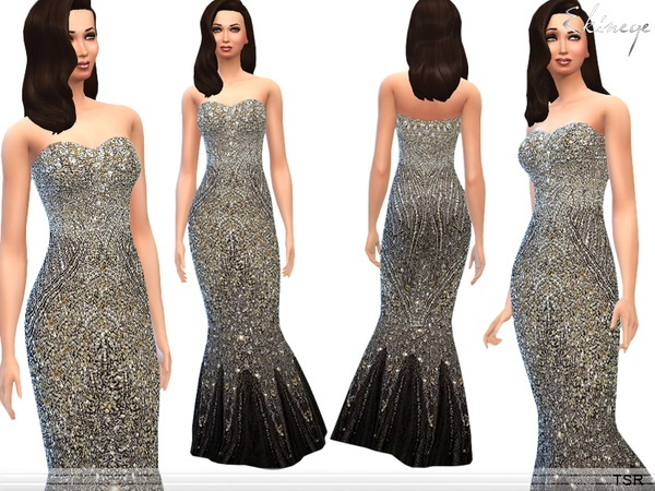 Sims 4 Sequined Gown by ekinege at TSR