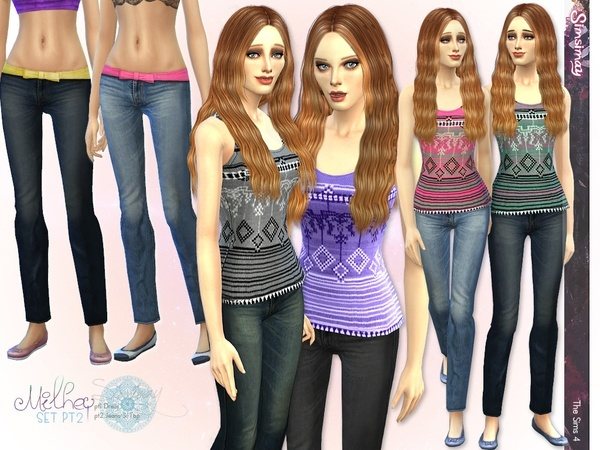 Sims 4 Milhey Pt2 Tank Top & Jeans by Simsimay at TSR