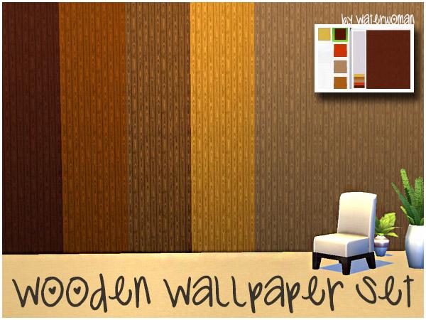Sims 4 Wooden Wallpaper Set by Waterwoman at Akisima