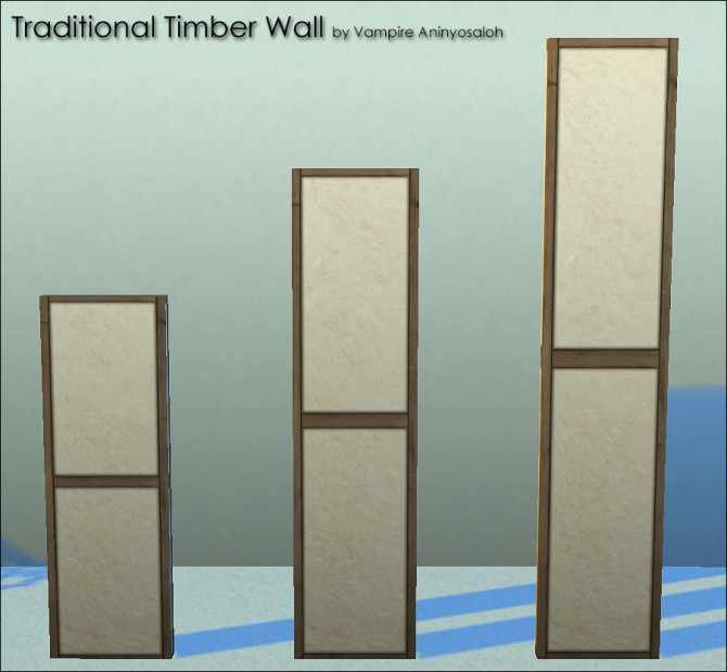 Sims 4 Traditional Timber Wall 5 colors by Vampire aninyosaloh at Mod The Sims