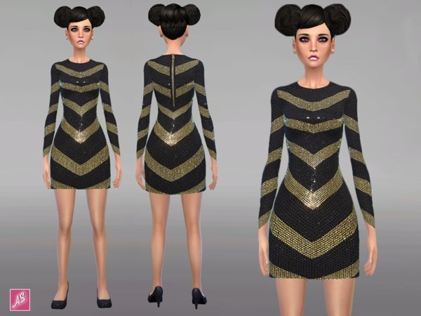 Sims 4 Black and Gold Long Sleeve Dress by Alexandra Sine at TSR