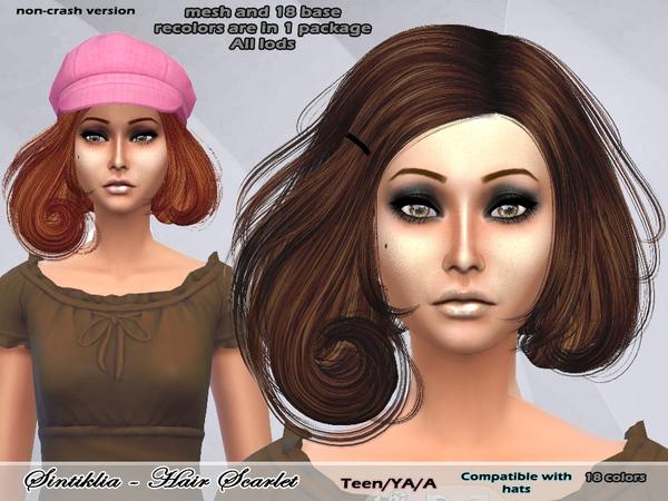 Scarlet hair non crash edit at Sintiklia Sims image 4718 Sims 4 Updates