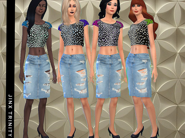 Sims 4 Funky Top and Trashy Skirt by JinxTrinity at TSR