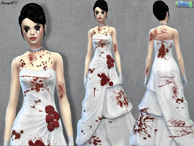Sims 4 Bloody Bridal Dress by Margie at Sims Addictions