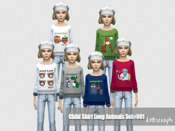 Sims 4 Long Shirt Set Animals #001 by dx8seraph at TSR