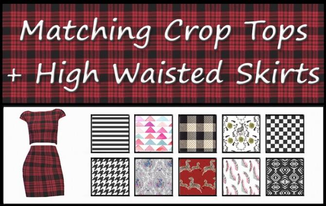Sims 4 Matching Crop Tops + High Waisted Skirts #2 at ThatMalorieGirl