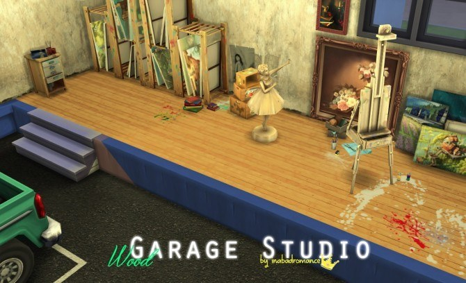 Sims 4 Wood (in walnut) floor with paintdrops at In a bad Romance