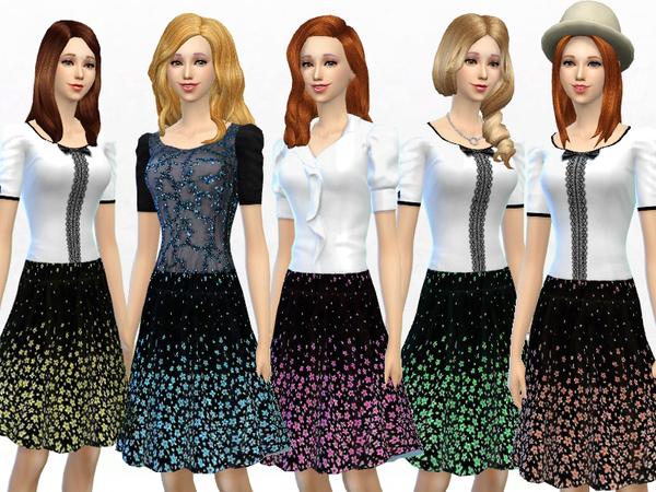 Sims 4 Little Flower Skirt by SakuraPhan at TSR