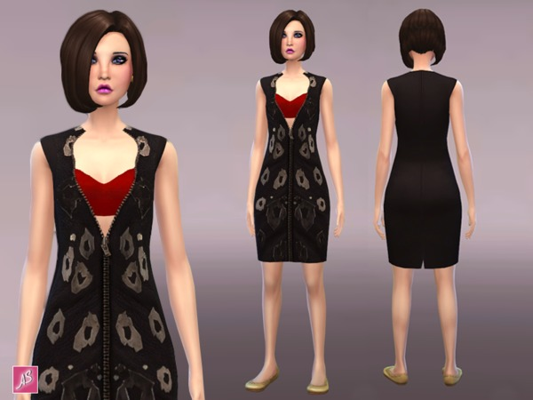 Zipped Leather Panel Dress at TSR image 5510 Sims 4 Updates