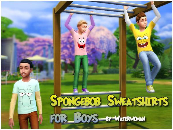 Spongebob Sweatshirts by Waterwoman at Akisima image 5710 Sims 4 Updates