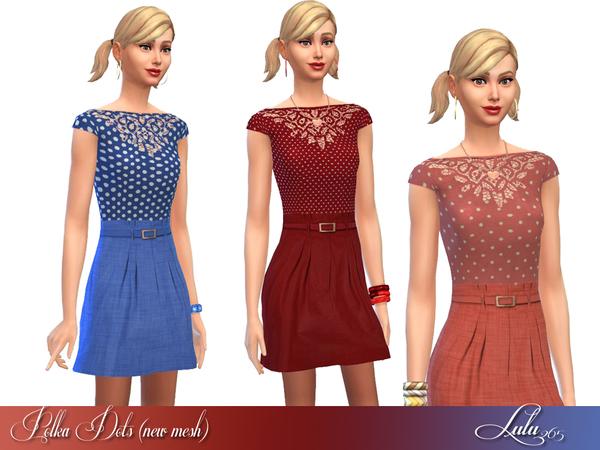Sims 4 Polka Dots dress by Lulu265 at TSR