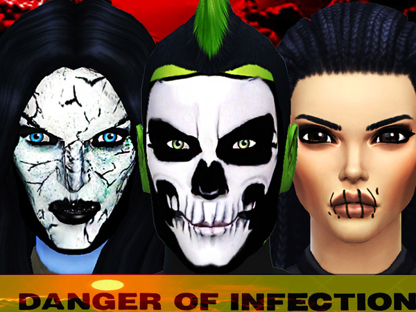 Sims 4 Danger of infection face paint by Pinkzombiecupcakes at TSR