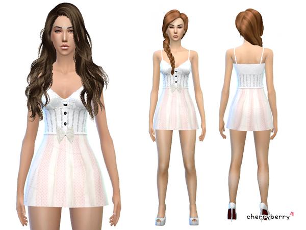 Sims 4 Angelic Halloween Dress by CherryBerrySim at TSR