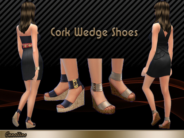 Sims 4 Cork Wedge Shoes by Canelline at TSR