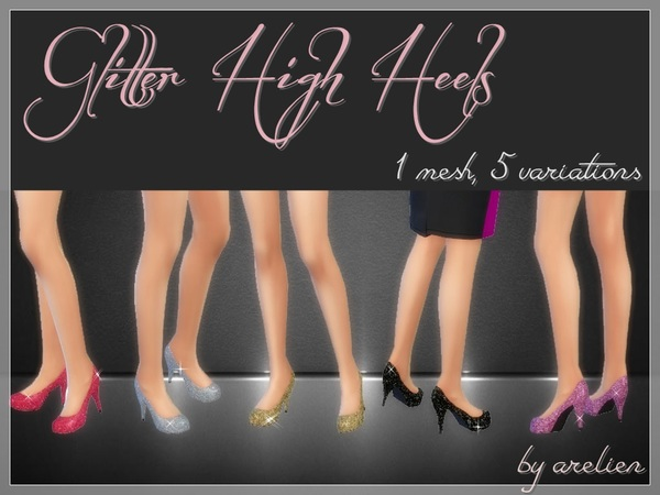 Sims 4 Glitter High Heels by Arelien at TSR