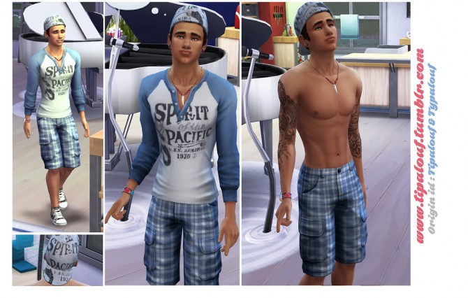 Sims 4 College Club T Shirt, Cargo Short & Cap at Tipalouf