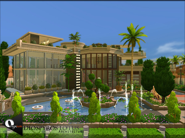 Sims 4 Diospyros Lotus house by Onyxium at TSR