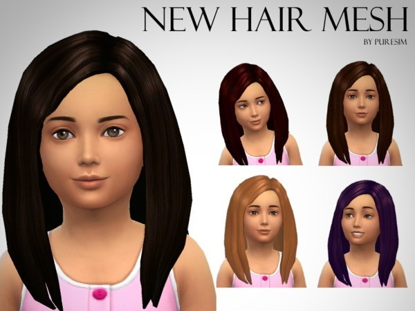 Sims 4 Voluminous Hair Mesh For Girls by Puresim at TSR