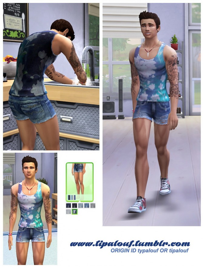 Sims 4 Vintage Denim Short for YAMale at Tipalouf