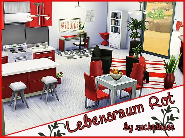 Sims 4 Red living/kitchen/dining by zuckerhase at Akisima