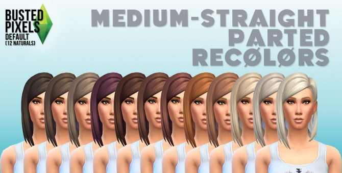 Medium Straight Part Hair 12 Recolors at Busted Pixels image 915 Sims 4 Updates