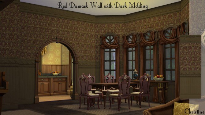 Sims 4 Red Damask Wall with Dark Molding by Christine11778 at Mod The Sims